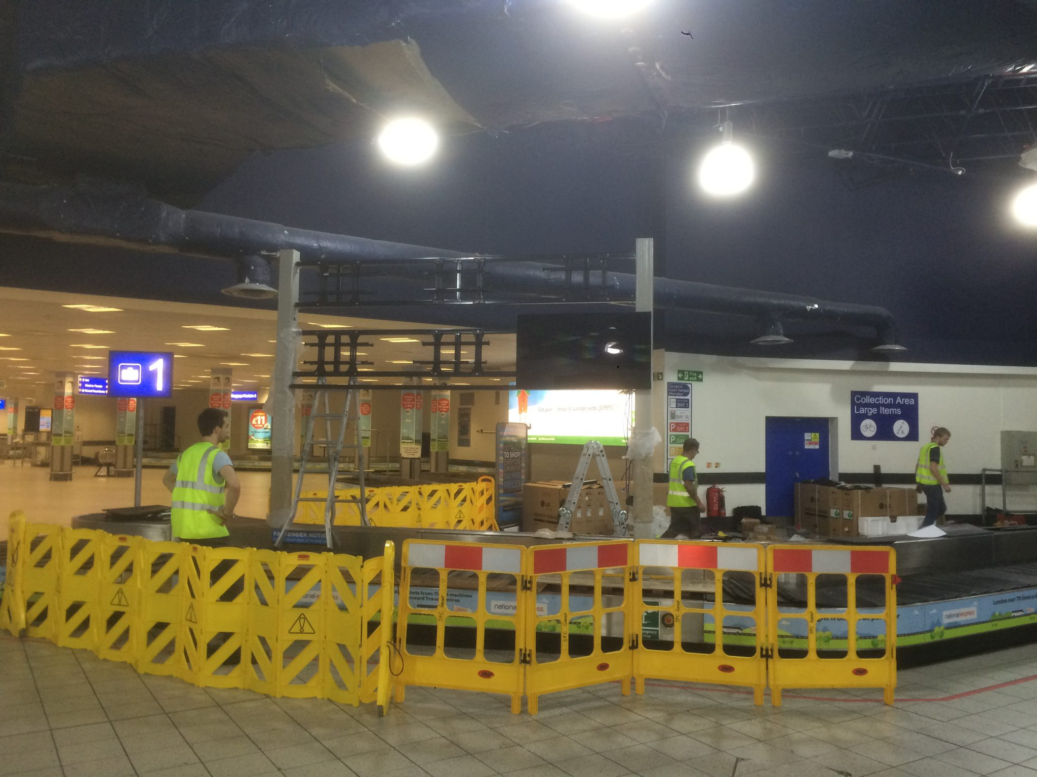 Health and Safety - Barriered worksite for video wall and steel frame installation