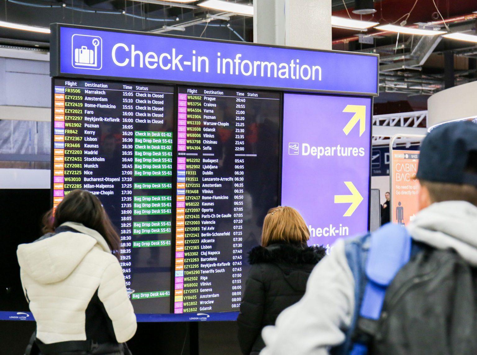 Flight and passenger information screens
