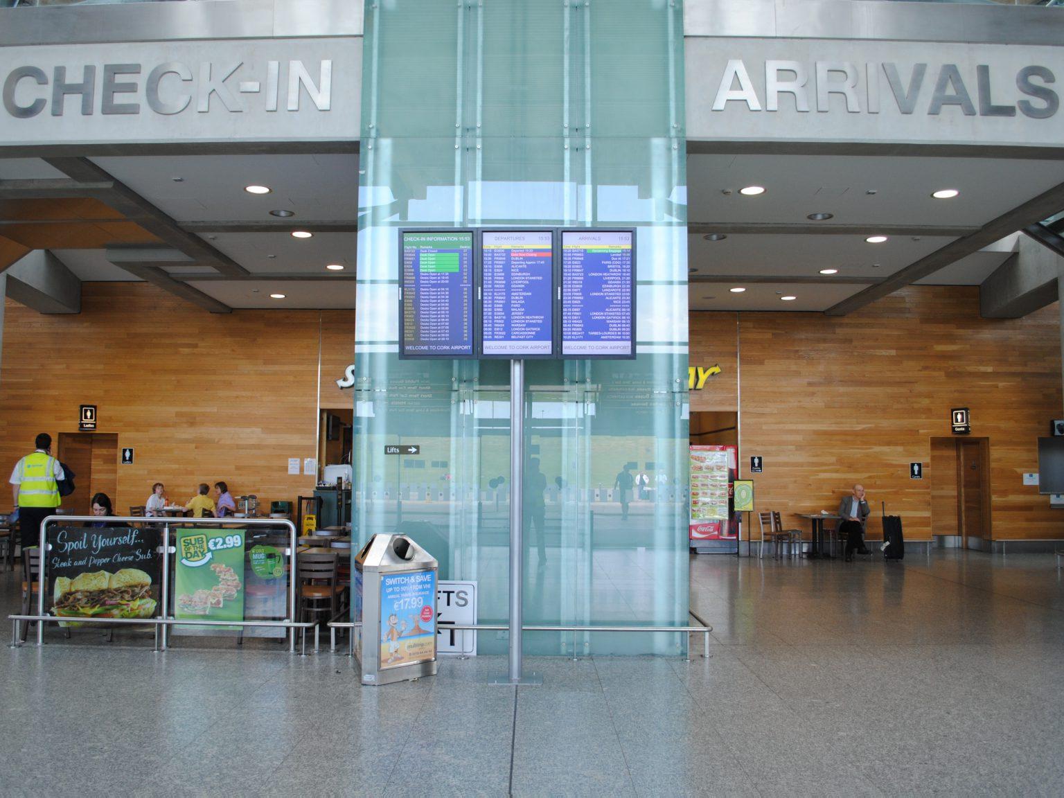 Flight information displays at Cork Airport