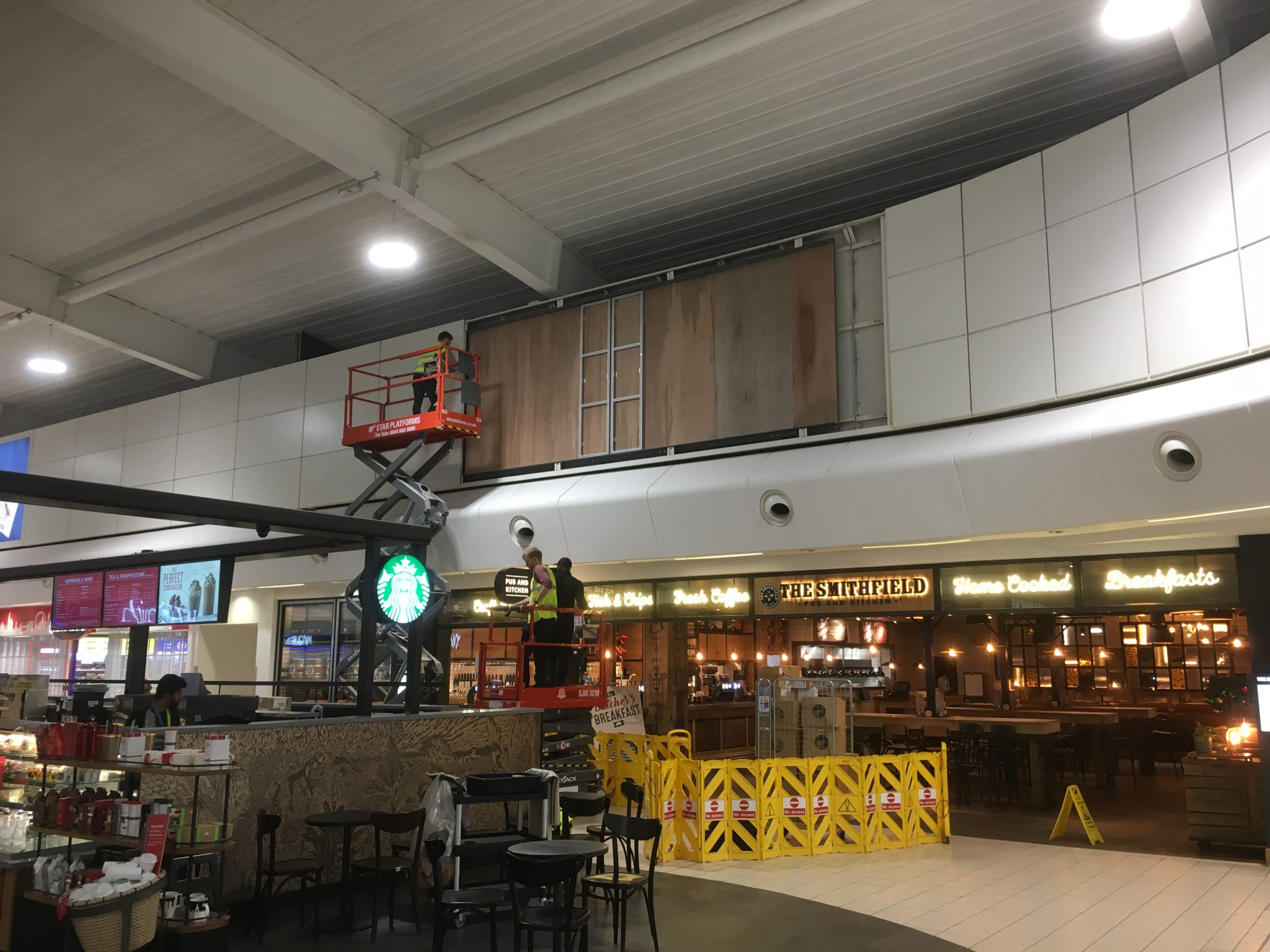 Health and Safety - LED Wall installation using scissor lifts at London Luton Airport