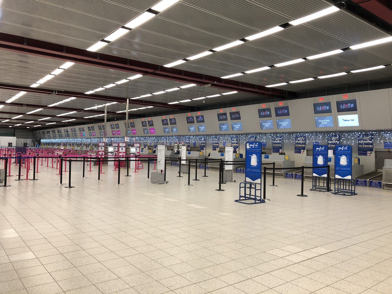 Check-in desks and advertising screens