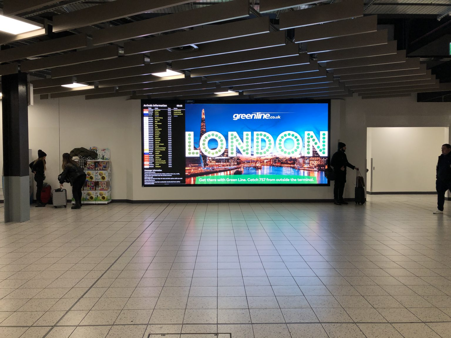 LED Wall welcoming passengers to London Luton Airport