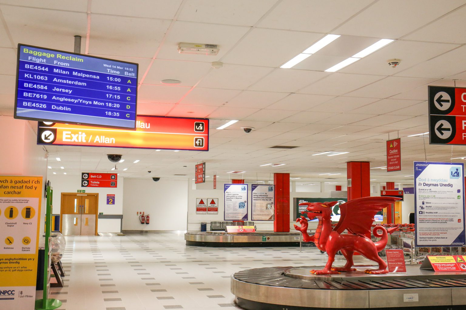 Baggage belt information screen at Cardiff Airport