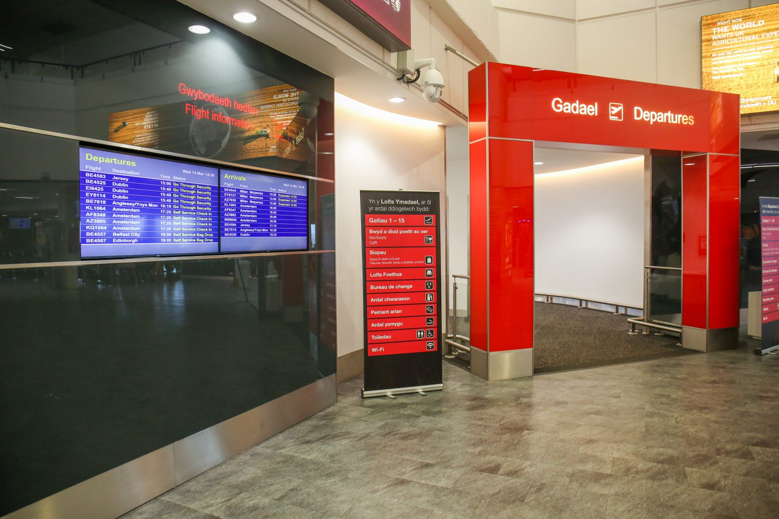 Pre-security flight information at Cardiff Airport