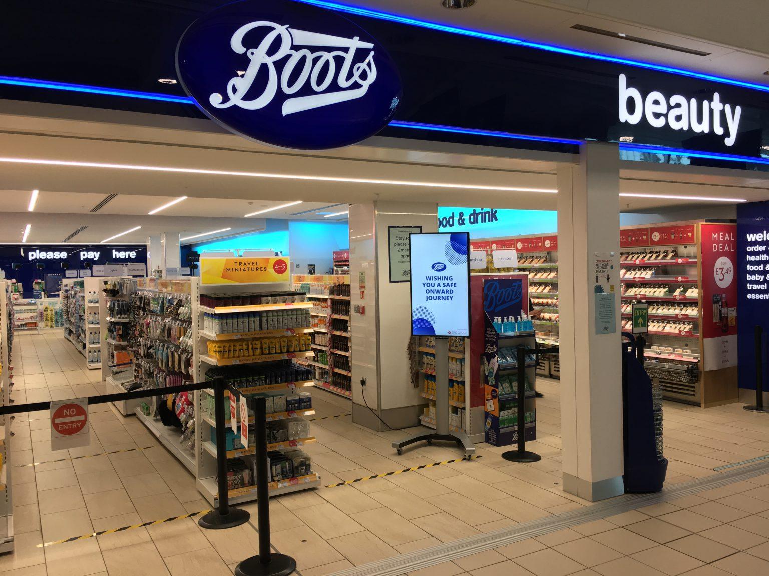 Digital sigange at Boots at London Luton Airport